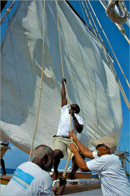 Hoisting Sails on the Friendship Rose